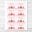 Pink Pumpkin Fall Harvest Printable Baby Shower Book Request Cards #A337