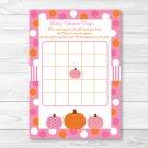 Pink Pumpkin Fall Harvest Printable Baby Shower Bingo Cards #A337