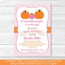 Pink Pumpkin Chevron Printable Baby Shower Invitation Editable PDF #A166