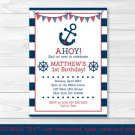 Nautical Anchor Printable Birthday Invitation Navy Blue & Red Editable PDF #A347