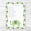 Lil Peanut Elephant Green Printable Baby Shower Wishes For Baby Advice Cards #A348
