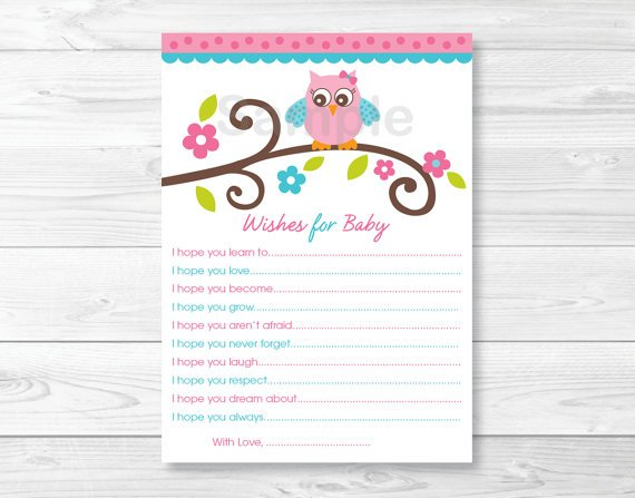 Pink Owl Blossom Printable Baby Shower Wishes For Baby Advice Cards #A162