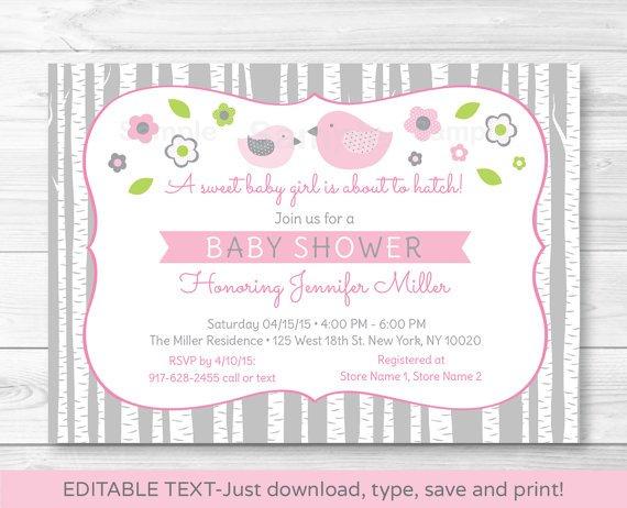 Pink & Grey Woodland Bird Printable Baby Shower Invitation Editable PDF #A350