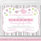 Pink & Grey Woodland Bird Printable Baby Shower Invitation Editable PDF #A350