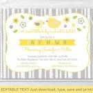 Yellow & Grey Woodland Bird Printable Baby Shower Invitation Editable PDF #A351