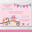Pink Girl Owl Blossom Printable Birthday Invitation Editable PDF #A354