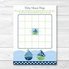 Sail Away Sailboat Nautical Green Printable Baby Shower Bingo Cards #A210