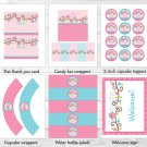 Pink Girl Owl Blossom Printable Birthday Party Package #A354
