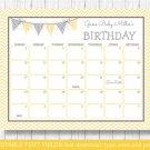 Yellow Chevron Baby Due Date Calendar Editable PDF #A356