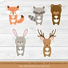 Woodland Animals Party Cutouts Decorations Printable #A191