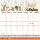 Woodland Animals Baby Due Date Calendar Editable PDF #A191