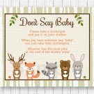 Woodland Animals Dont Say Baby Baby Shower Game Printable #A191