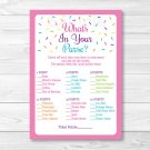 Pink Baby Sprinkle Whats In Your Purse Baby Shower Game Printable #A357