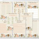 Woodland Animals Baby Shower Games Pack - 8 Printable Games #A191