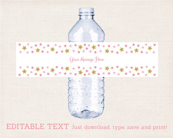 Twinkle Star Water Bottle Labels Pink And Glitter Printable Editable PDF #A358