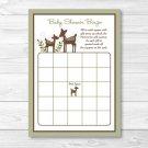 Woodland Deer Baby Shower Bingo Cards Printable #A131