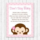 Girl Monkey Dont Say Baby Baby Shower Game Printable #A167