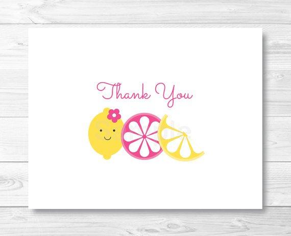 Pink Lemonade Thank You Card Printable #A303