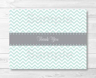 Green Chevron Thank You Card Printable #A364