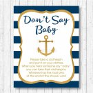 Nautical Gold Anchor Dont Say Baby Baby Shower Game Printable #A365