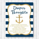 Nautical Gold Anchor Diaper Thoughts Late Night Diaper Baby Shower Game #A365