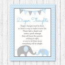 Blue Chevron Elephant Diaper Thoughts Late Night Diaper Baby Shower Game #A187