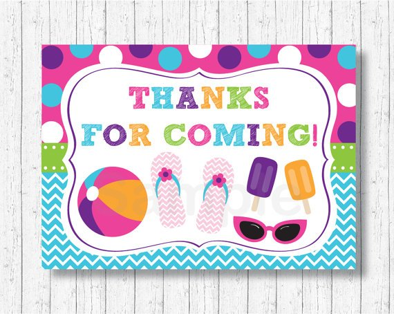 Girls Pool Party Party Favor Thank You Tags #A349