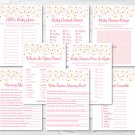 Blush Pink & Gold Glitter Baby Shower Games Pack - 8 Printable Games #A368