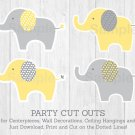 Yellow & Grey Elephant Party Cutouts Decorations Printable #A234