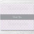 Purple & Grey Chevron Thank You Card Printable #A370