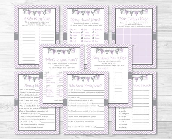 Purple & Grey Chevron Baby Shower Games Pack - 8 Printable Games #A370