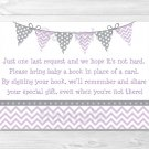 Purple & Grey Chevron Baby Shower Book Request Cards Printable #A370