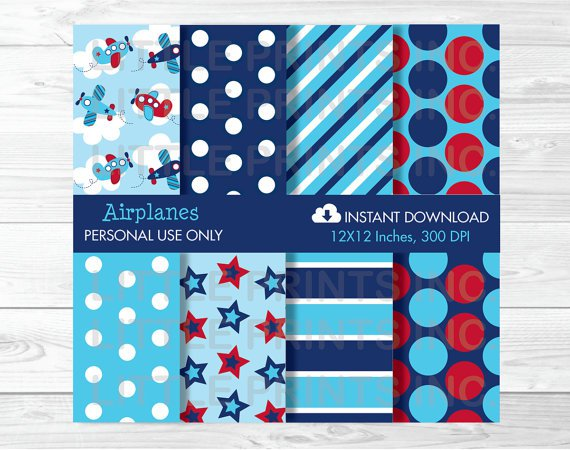 Airplane Stripes And Stars Digital Paper #A155