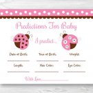 Pink Ladybug Baby Shower Baby Predictions Game Cards Printable #A122