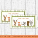 Woodland Forest Animals Buffet Tent Cards & Place Cards Editable PDF #A191