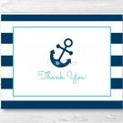 Nautical Blue Anchor Thank You Card Printable #A222
