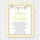 Yellow Chevron Diaper Thoughts Late Night Diaper Baby Shower Game #A356