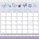 Lavender Butterfly Garden Baby Due Date Calendar Editable PDF #A218