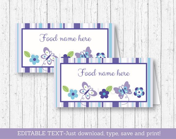 Lavender Butterfly Garden Buffet Tent Cards & Place Cards Editable PDF #A218