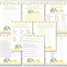 Yellow Chevron Elephant Baby Shower Games Pack - 8 Printable Games #A181