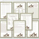 Woodland Deer Baby Shower Games Pack - 8 Printable Games #A131