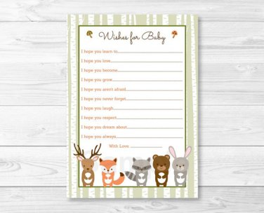 Woodland Forest Animals Printable Baby Shower Wishes For Baby Advice Cards #A191