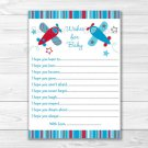 Blue & Red Airplane Printable Baby Shower Wishes For Baby Advice Cards #A283