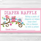 Love Birds Owl Printable Baby Shower Diaper Raffle Tickets #A253