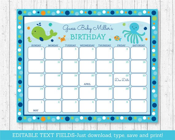Blue Under The Sea Baby Due Date Calendar Editable PDF #A237