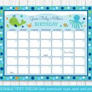 Blue Under The Sea Baby Due Date Calendar Editable PDF #A237