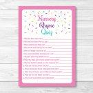 Pink Baby Sprinkle Baby Shower Nursery Rhyme Quiz Game Printable #A357