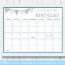 Blue Chevron Baby Due Date Calendar Editable PDF #A260