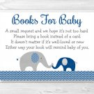 Navy Blue Elephant Baby Shower Book Request Cards Printable #A373