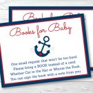 Nautical Anchor Blue & Red Printable Baby Shower Book Request Cards #A259